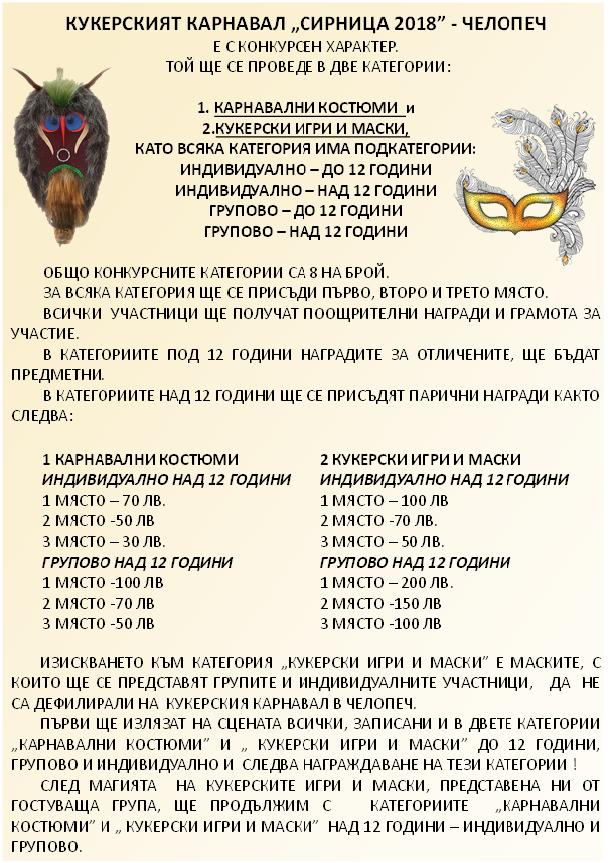 Регламент за участие в Сирница 2018 в Челопеч
