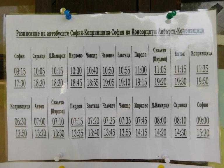 Разписание на автобусите София - Копривщица -София
